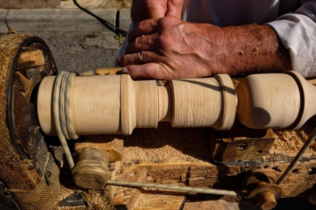 lathe being used
