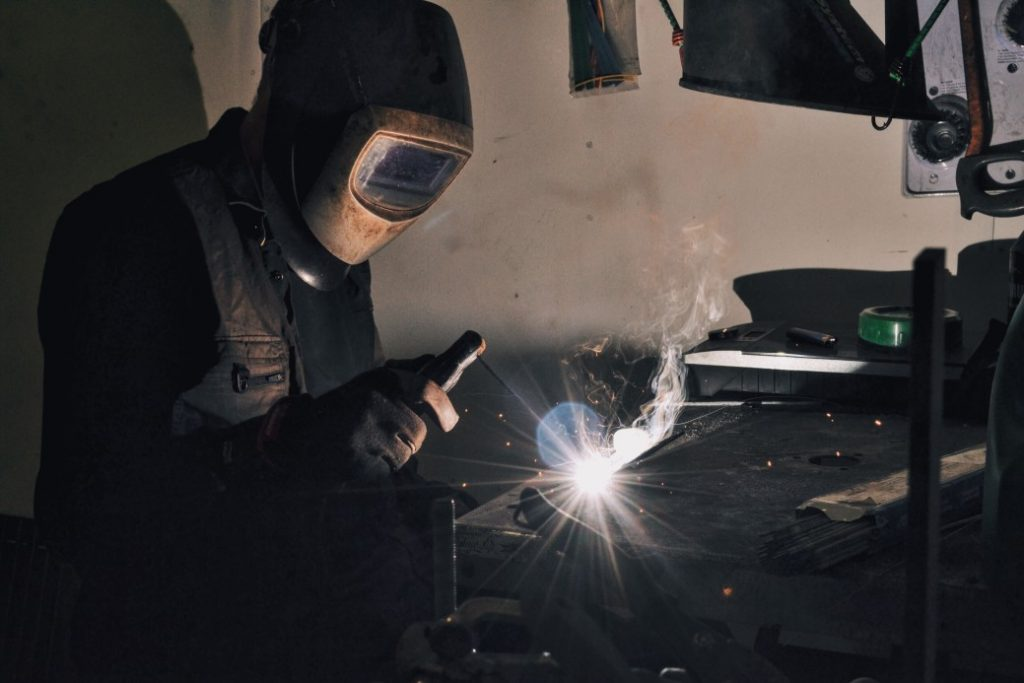Welder in the middle of a weld