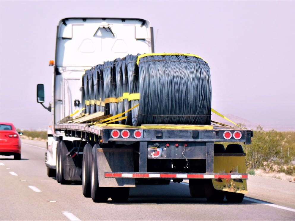 truck transporting wire