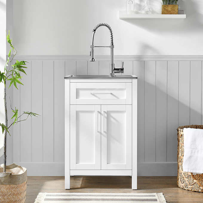 utility sink with a cabinet