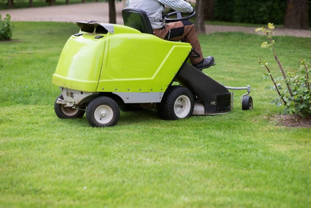 lawn tractor in use