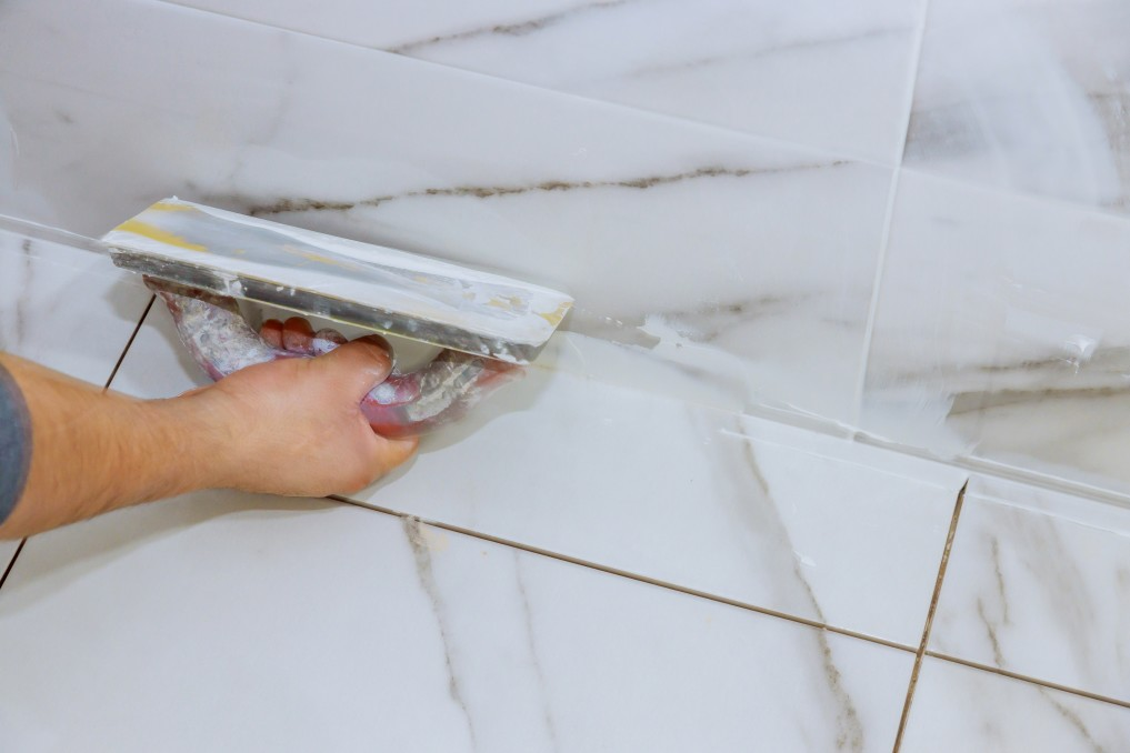 Beautiful tile and grout being installed