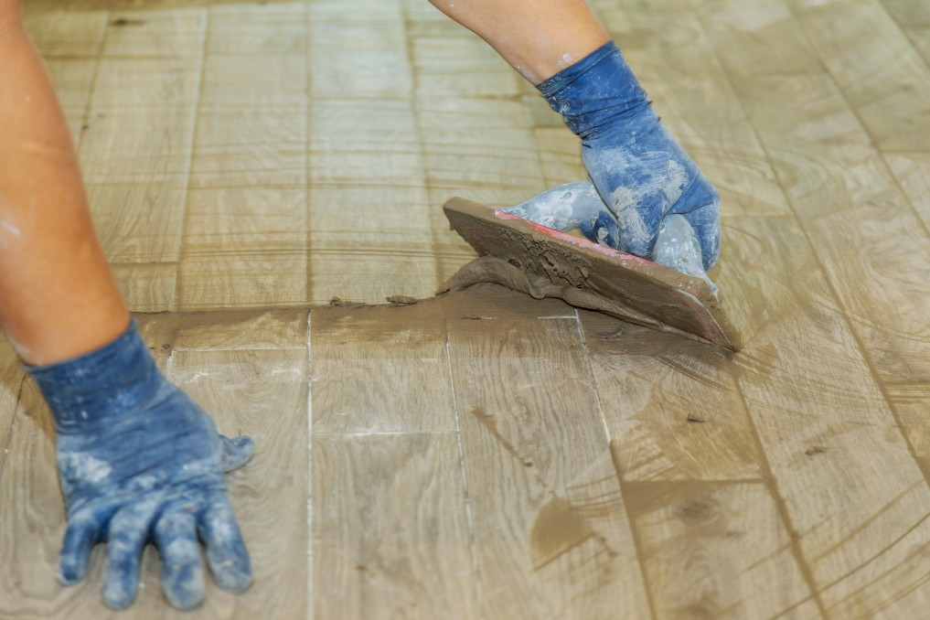 Grout being installed