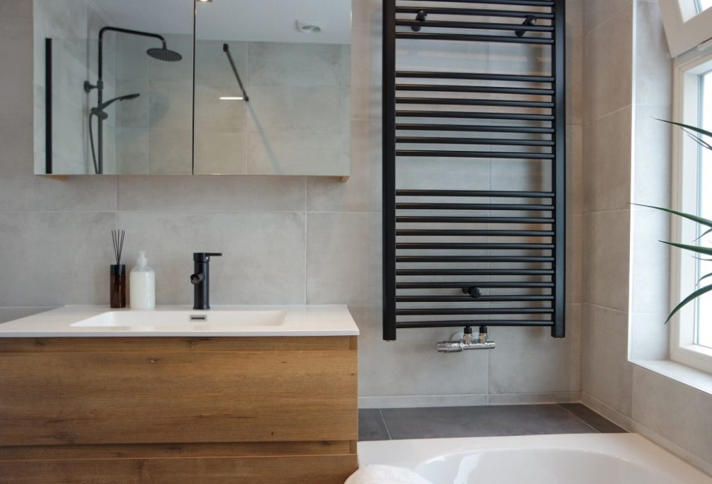 Wooden faucet in a modern bathroom