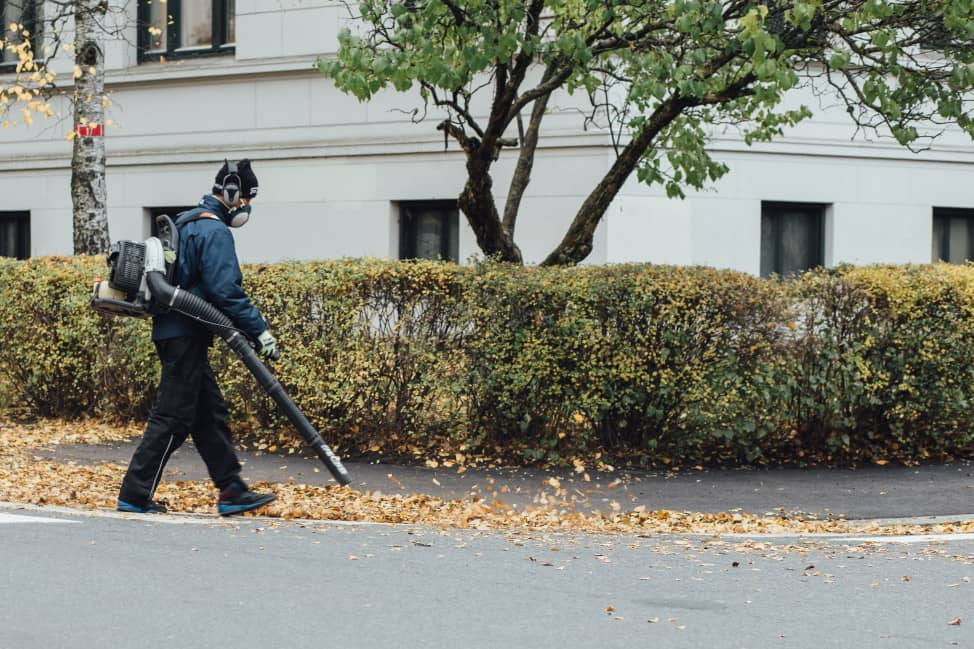 leaf blower used in autumn