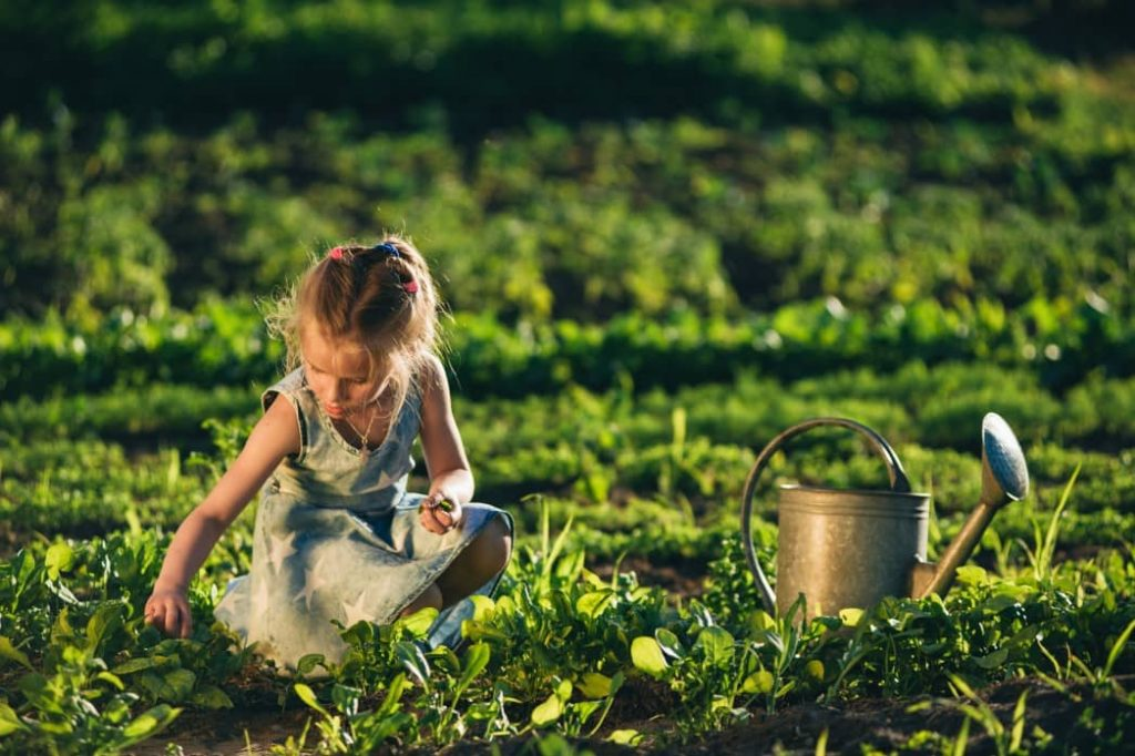 girl using watering can