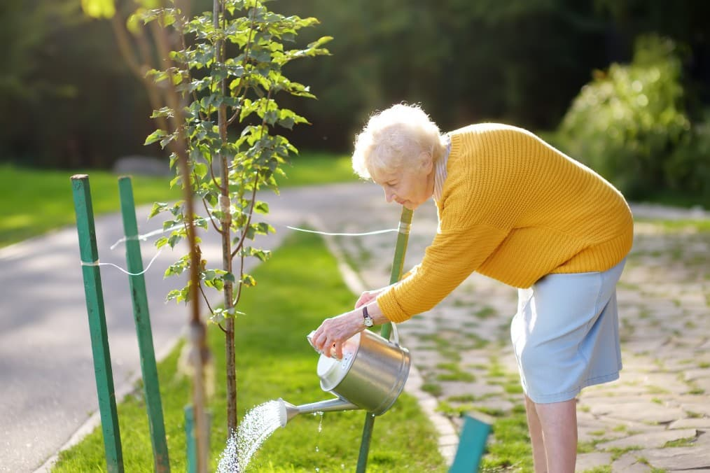 grandmother outside taking care of plants