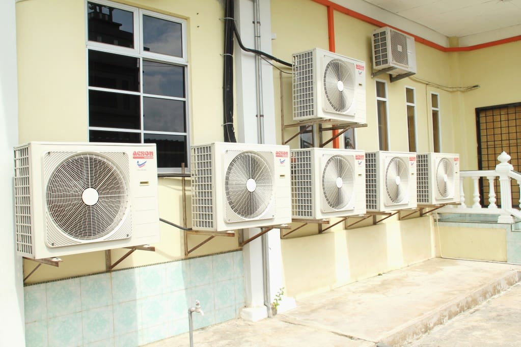 several outside air conditioners