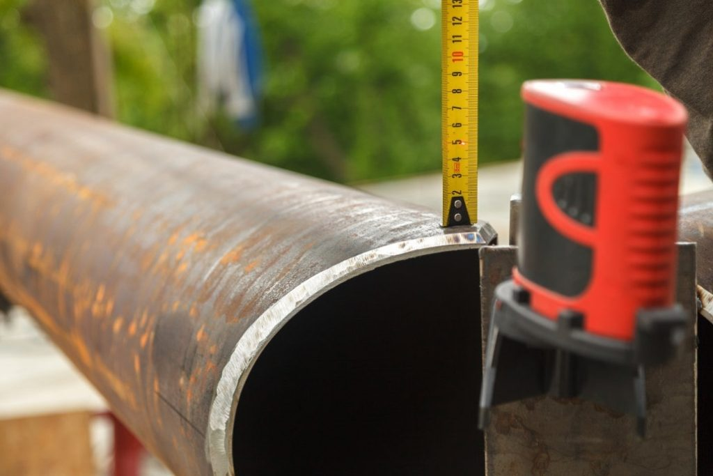 Pipe being laid