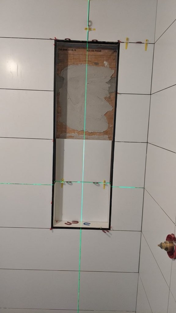 Tile being installed